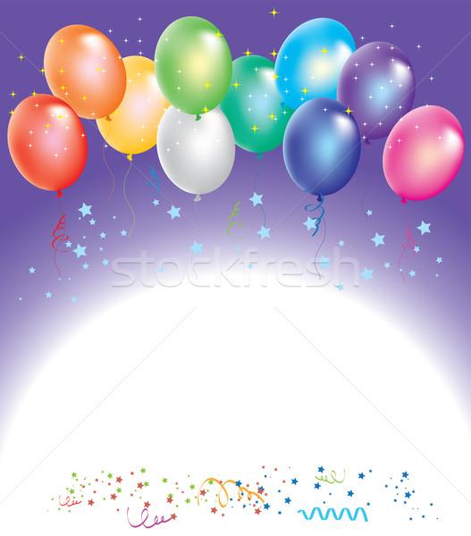 Vecteur coloré ballons confettis ciel heureux Photo stock © Dahlia