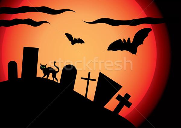 Wektora cmentarz świetle słońce księżyc niebo Zdjęcia stock © Dahlia