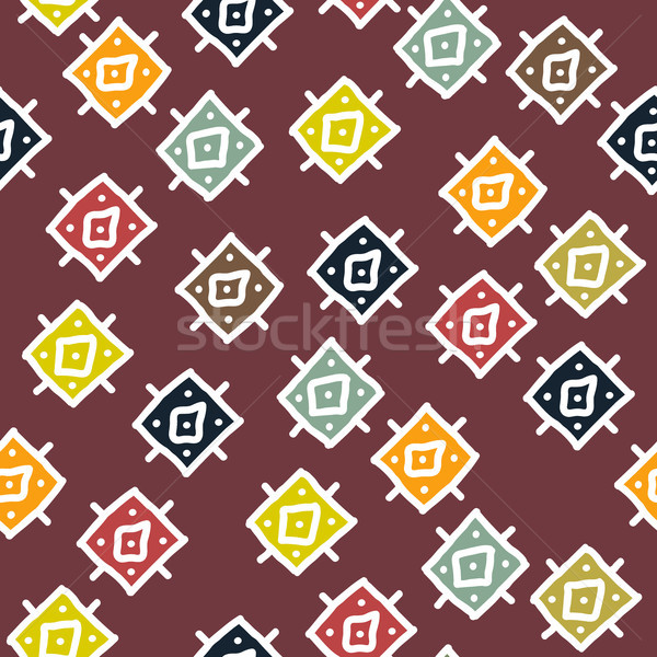 vector abstract background with seamless african colorful rhombu Stock photo © Dahlia