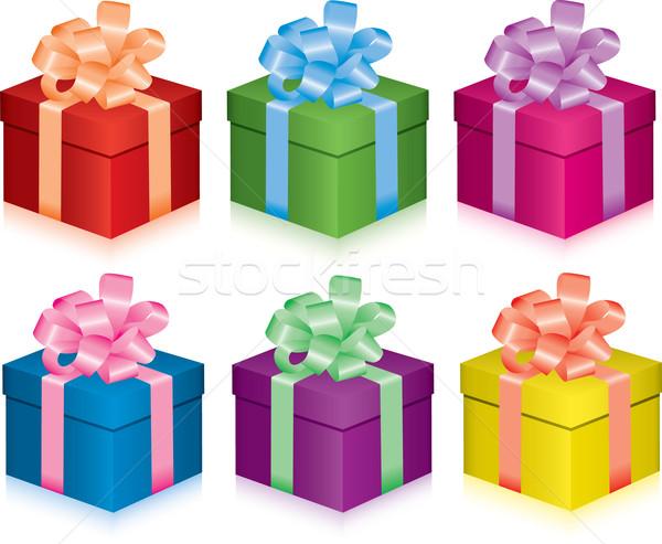 Vetor colorido caixas de presente vida evento fundo Foto stock © Dahlia