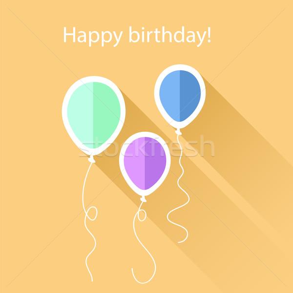 Tebrik kartı doğum günü balonlar kâğıt parti arka plan Stok fotoğraf © Dahlia