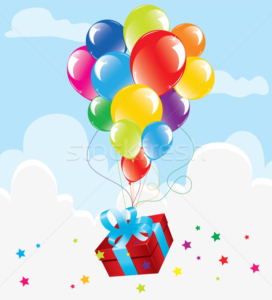 Stock photo: colorful balloons and a gift box in the sky