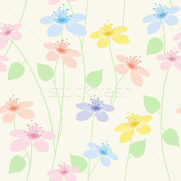 Vetor sem costura floral padrão árvore abstrato Foto stock © Dahlia