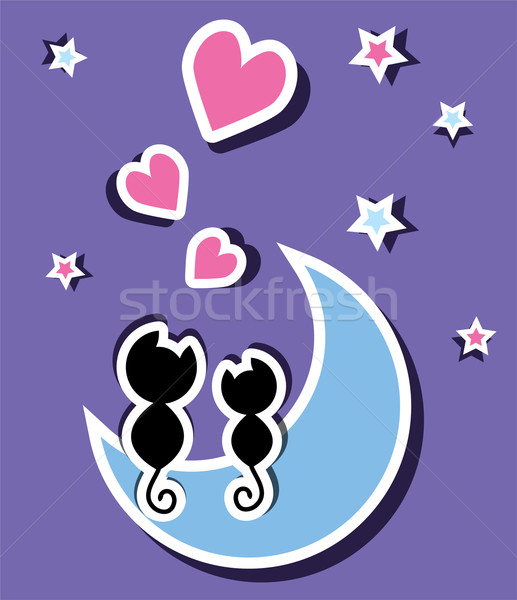 two cats in love sitting on the moon Stock photo © Dahlia