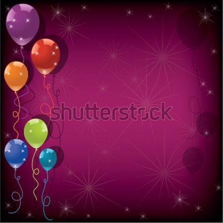 Stockfoto: Vector · feestelijk · kleurrijk · ballonnen · roze · eps10