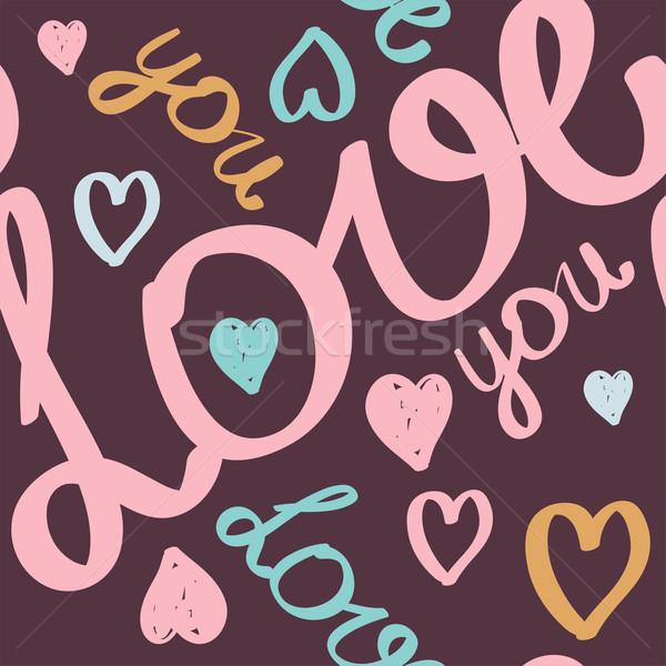 Photo stock: Vecteur · saint · valentin · mariage · texte