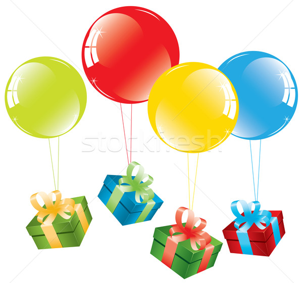 vector bunch of colorful balloons and a gift box Stock photo © Dahlia