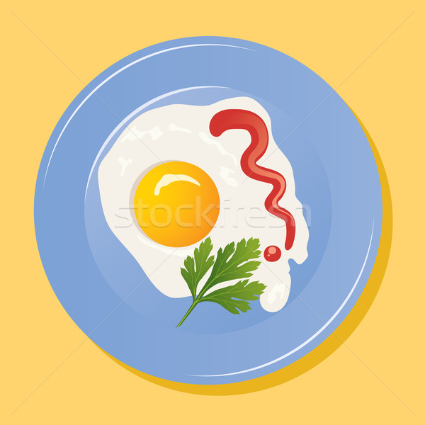 vector plate with fried eggs Stock photo © Dahlia