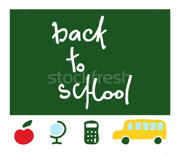 Vetor escolas de volta à escola lousa palavras maçã vermelha Foto stock © Dahlia