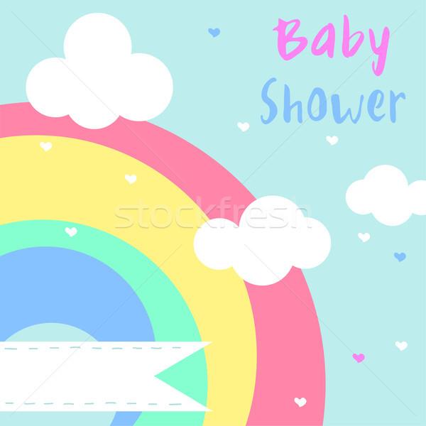 ベクトル 赤ちゃん シャワー 虹 空 ストックフォト © Dahlia