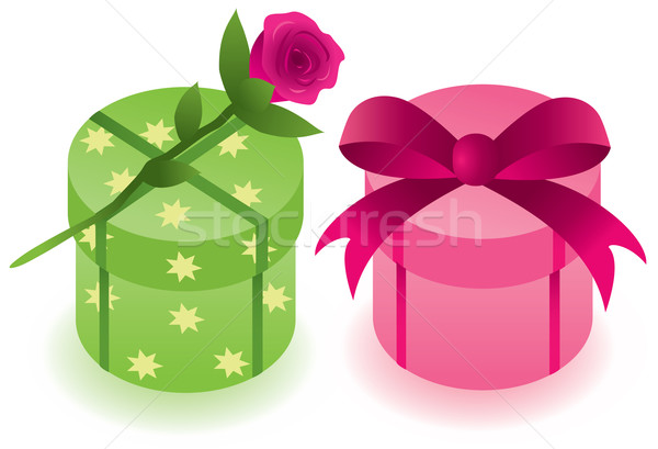 Stock photo: vector gift boxes with a rose