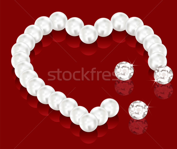 Vecteur perle perles Valentin jour lumière Photo stock © Dahlia