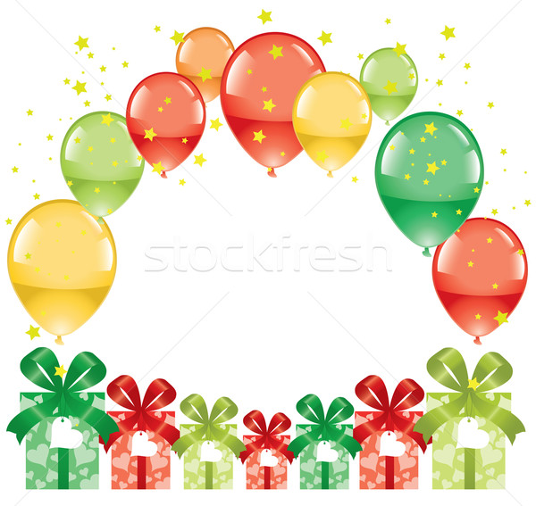 Stock photo: vector colorful festive balloons and gift boxes