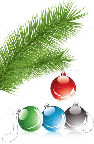 Szőr faág karácsony dekoráció vektor fény Stock fotó © Dahlia