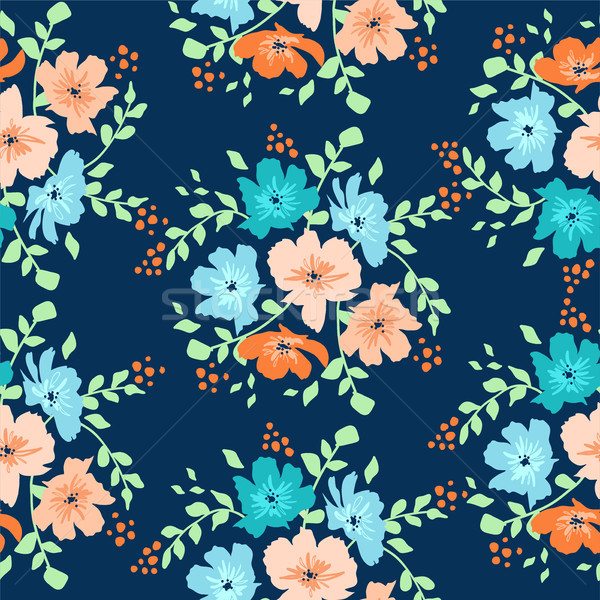 Stock photo: vector seamless floral pattern with daisy flowers