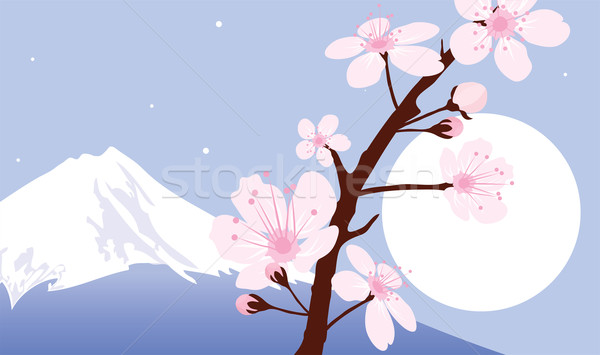 vector Mount Fuji, moon and branches of sakura (cherry) Stock photo © Dahlia