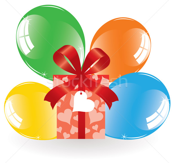 Stock photo: vector bunch of colorful balloons and a gift box