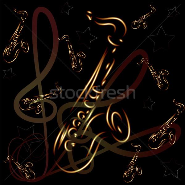 Saksofon streszczenie wektora stylizowany świetle tle Zdjęcia stock © Dahlia