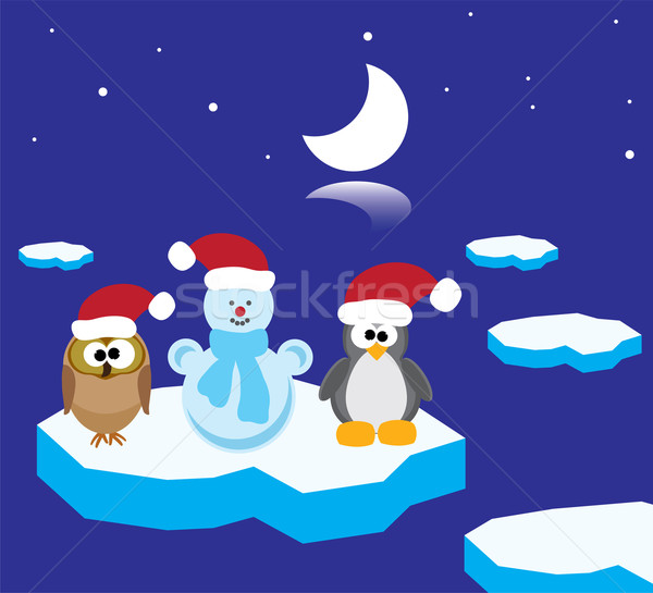 vector animals on the ice floe Stock photo © Dahlia