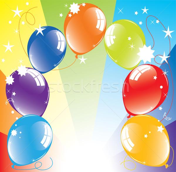 Stok fotoğraf: Vektör · renkli · balonlar · parti · ışık · mavi