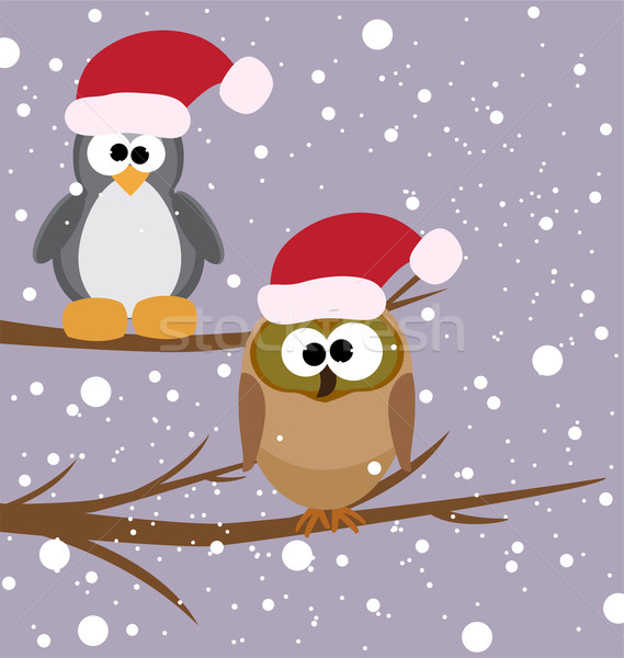 vector owl and a penguin with santa's hats Stock photo © Dahlia