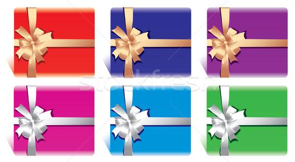 Vetor conjunto cartões caixas de presente arco fita Foto stock © Dahlia