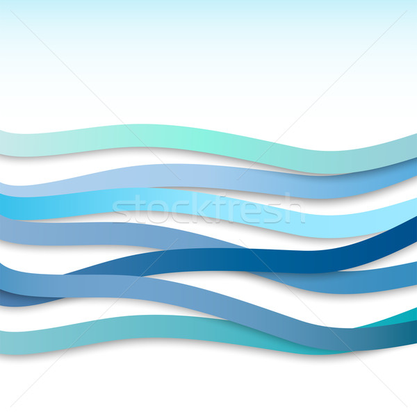 Abstract background with blue wavy stripes. Vector illustration Stock photo © Dahlia