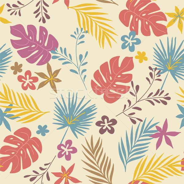 Vetor padrão tropical plantas flores Foto stock © Dahlia