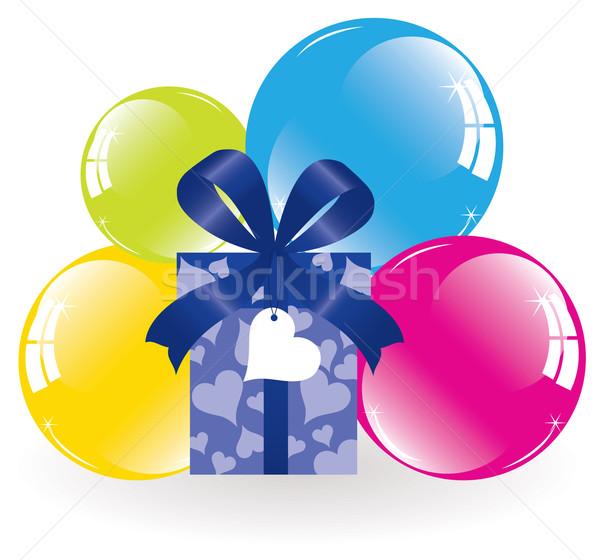 Stok fotoğraf: Vektör · renkli · balonlar · hediye · kutusu · kalp