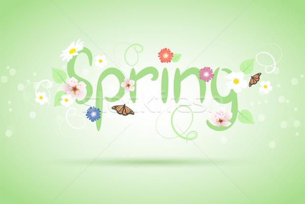 ベクトル 抽象的な 春 草 蝶 デザイン ストックフォト © Dahlia