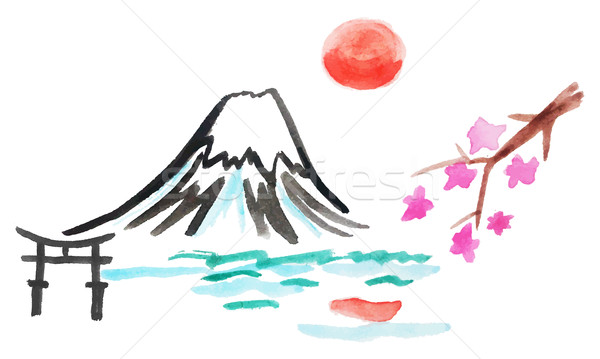 Fuji Dağı sakura Japonya vektör suluboya örnek Stok fotoğraf © Dahlia