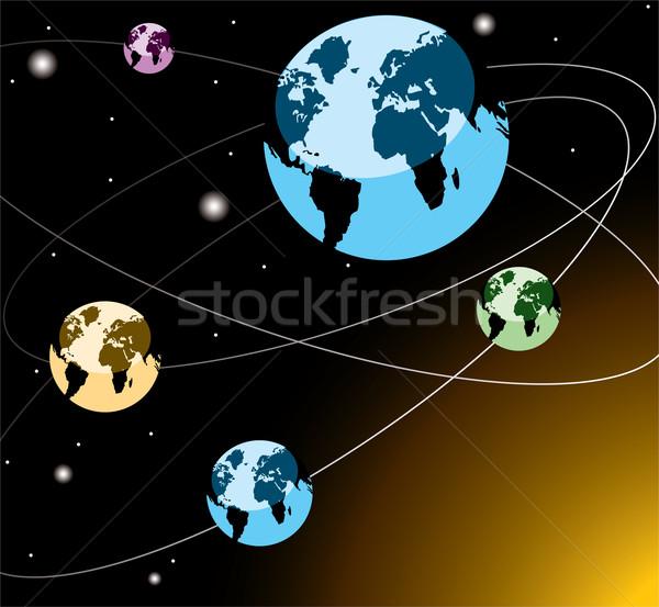 vector earths on orbits Stock photo © Dahlia