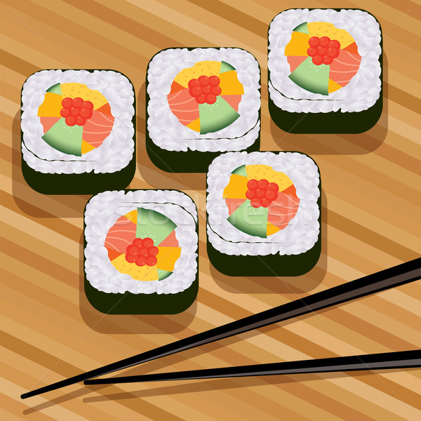 vector sushi on bamboo mat and chopsticks Stock photo © Dahlia
