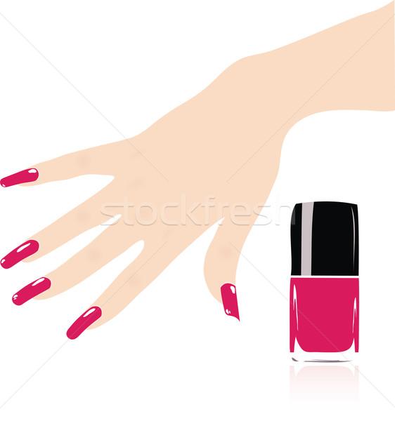 Vektor nő kéz piros körmök modell Stock fotó © Dahlia