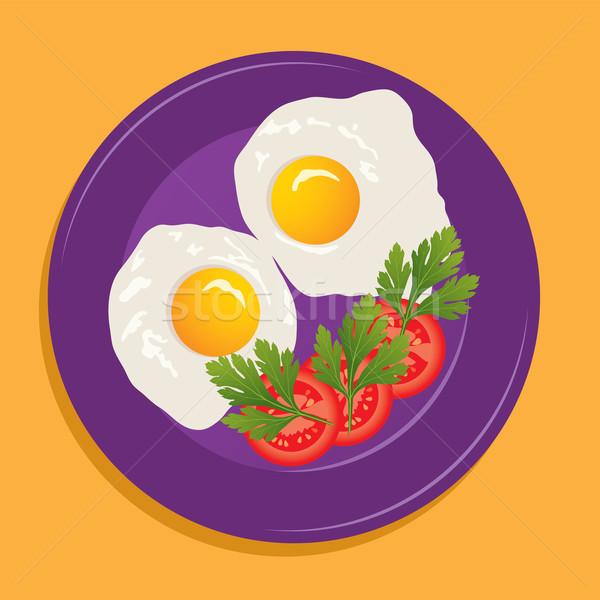 Vetor prato frito ovos legumes comida Foto stock © Dahlia