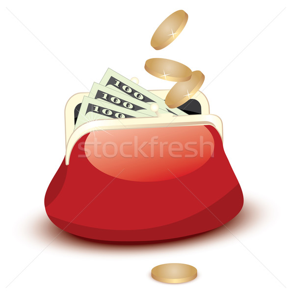 vector wallet with dollar bills and falling coins Stock photo © Dahlia