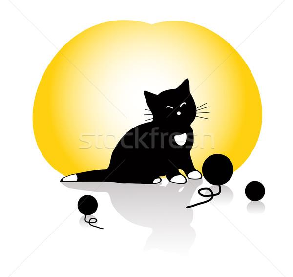 Vetor gatinho jogar amarelo Foto stock © Dahlia