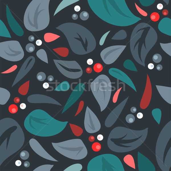 Vector seamless background with leaves and berries Stock photo © Dahlia