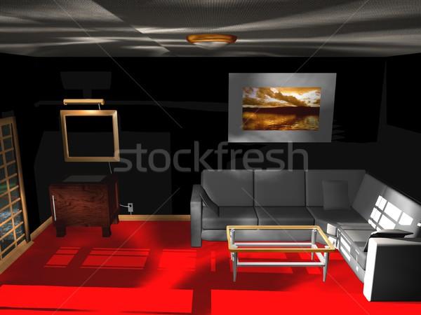 Woonkamer illustratie moderne ontwerp home tabel Stockfoto © daneel