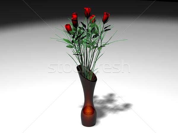 Red roses in vase Stock photo © daneel