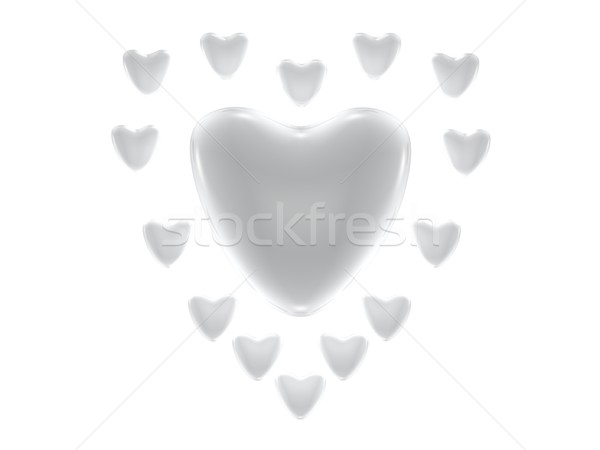 Argent Valentin coeurs illustration carte Romance Photo stock © daneel