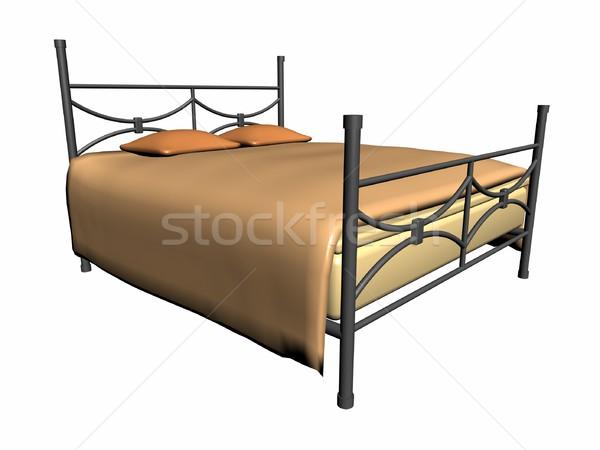średniowiecznej bed ilustracja żelaza projektu retro Zdjęcia stock © daneel