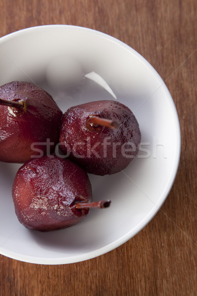 Poire poires vin rouge blanche bol table Photo stock © danienel