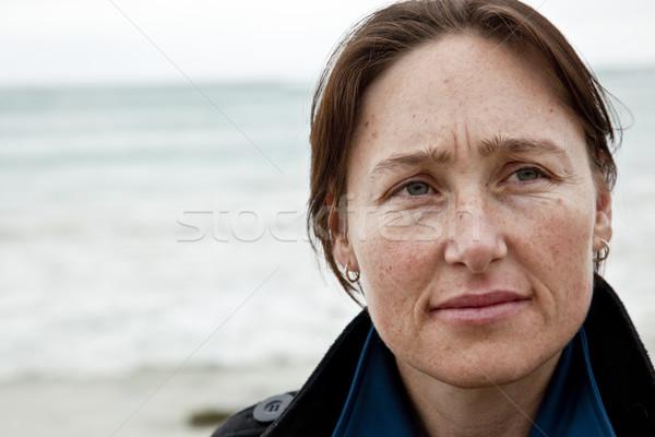 Kadın plaj mutlu doğa Stok fotoğraf © danienel