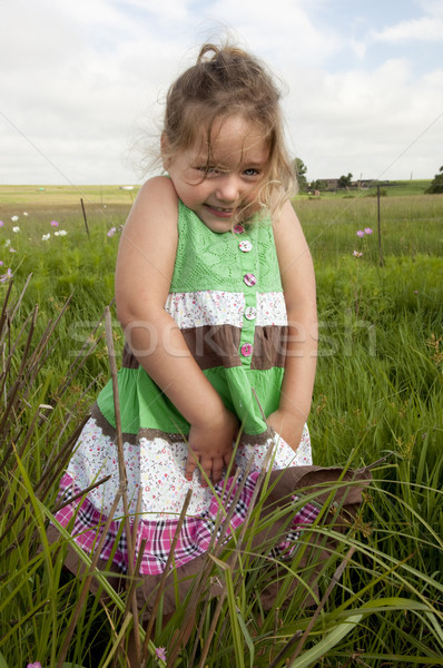 Cute girl in field Stock photo © danienel
