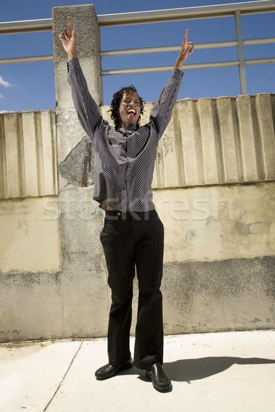 Oui homme noir afrique du sud mains air Photo stock © danienel