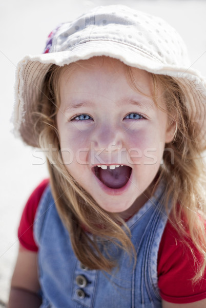 Cute little girl at beachfront Stock photo © danienel