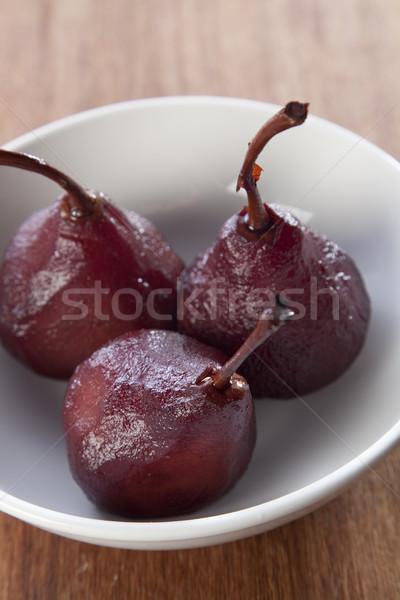 Poire poires vin rouge blanche bol table Photo stock © danienel