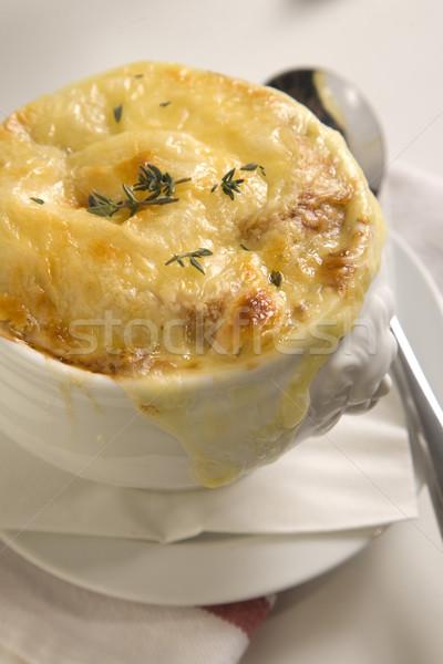 Brun oignon soupe grillés fromages servi Photo stock © danienel
