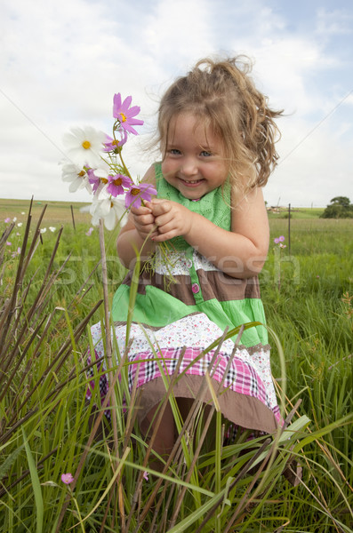 Cute girl in meadow with flowers Stock photo © danienel